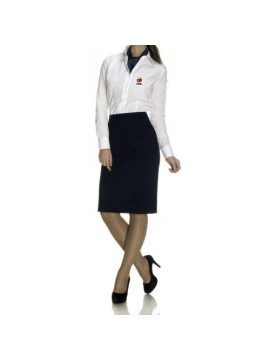 receptionist shirt and black skirt